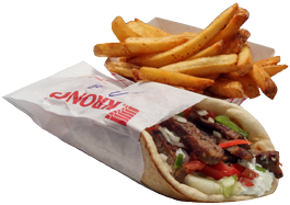 Grecian Corner Gyro Sandwich on Pita with Fries